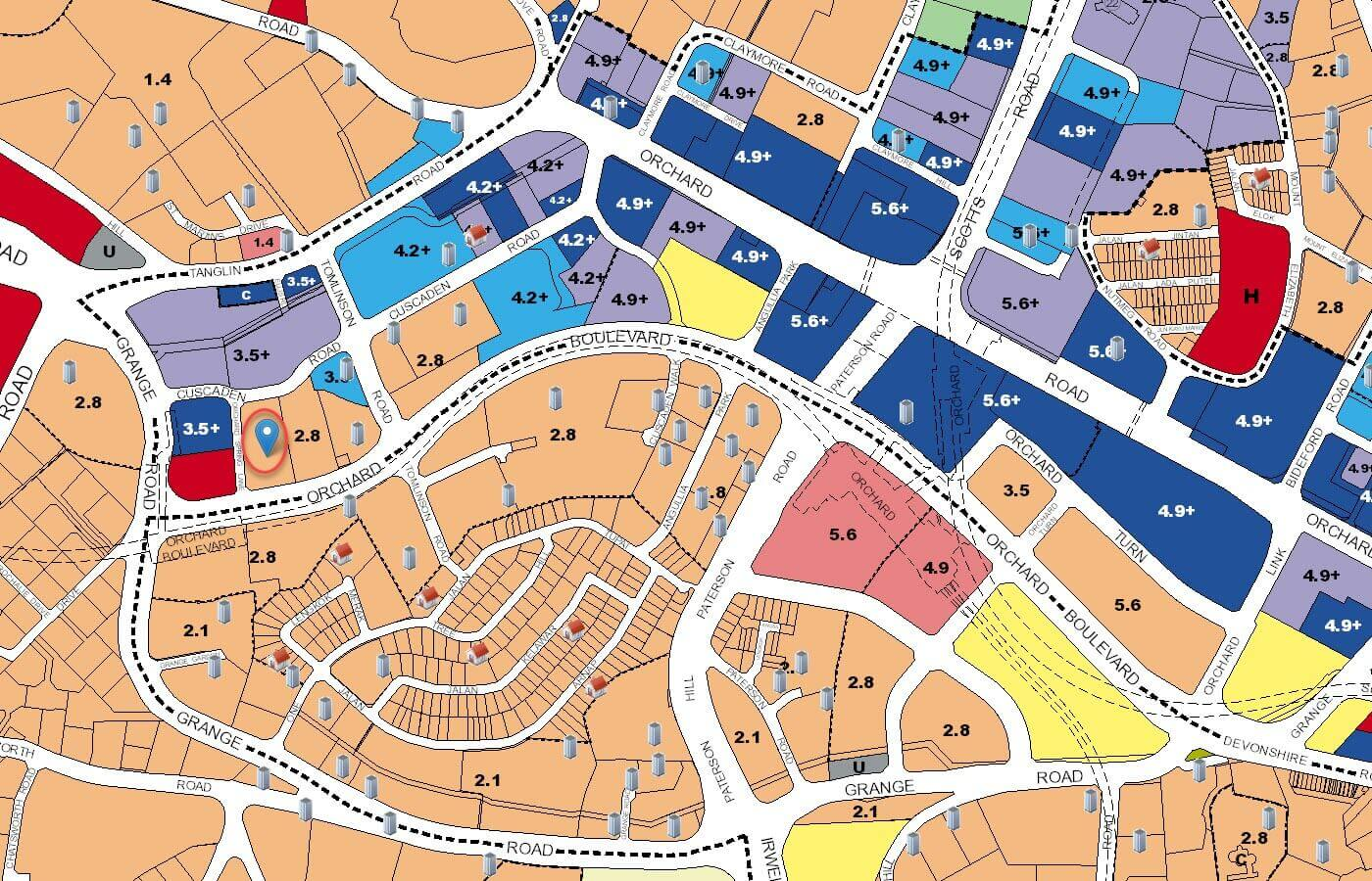 3 Orchard By-The-Park Condo URA Master Plan Map