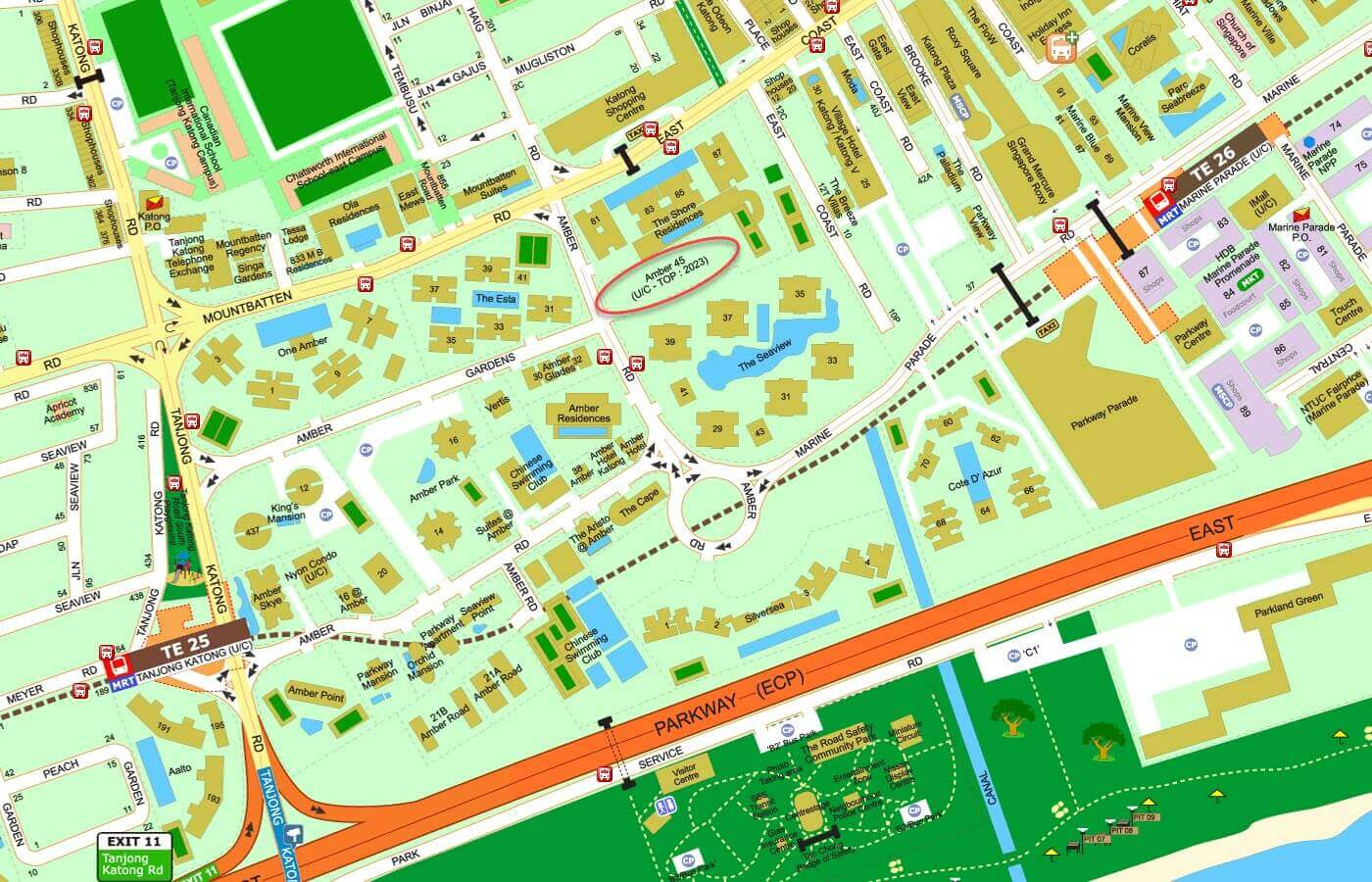 Amber 45 Condo Street Directory Map