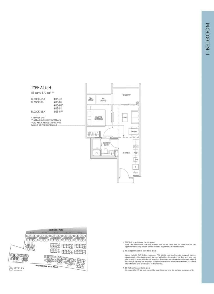 Kent Ridge Hill Residences Floor Plan A1b