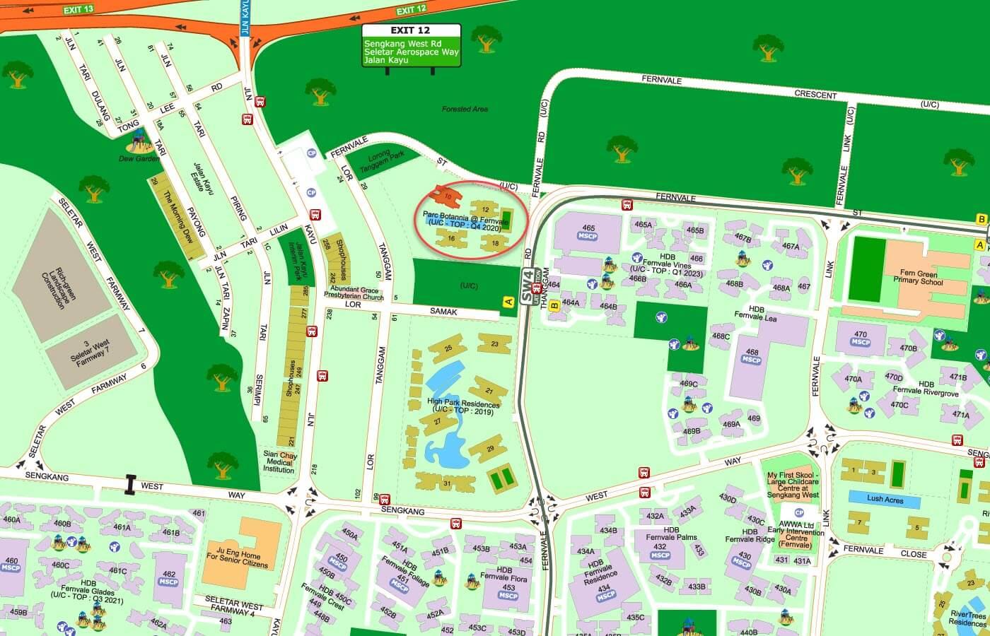 Parc Botannia Condo Street Directory Map