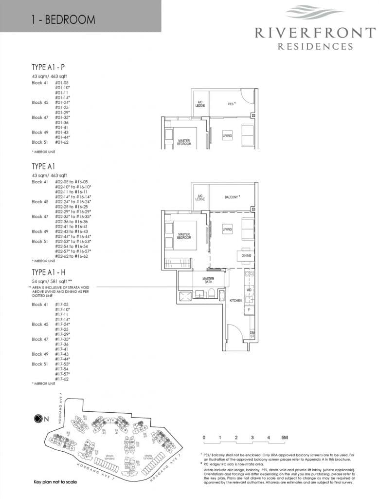 Riverfront Residences Condo Floor Plan 1 Bedroom A1