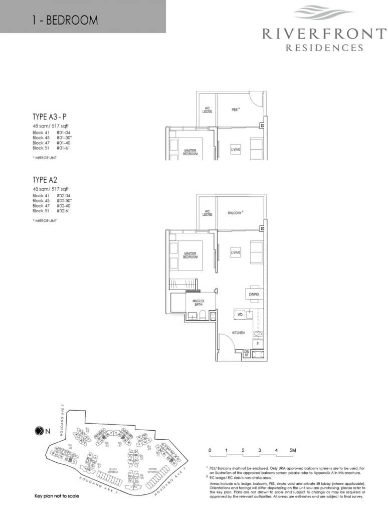 Riverfront Residences Condo Floor Plan 1 Bedroom A2, A3-P