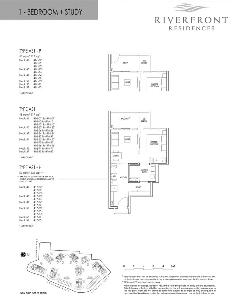 Riverfront Residences Condo Floor Plan 1 Bedroom + Study AS1