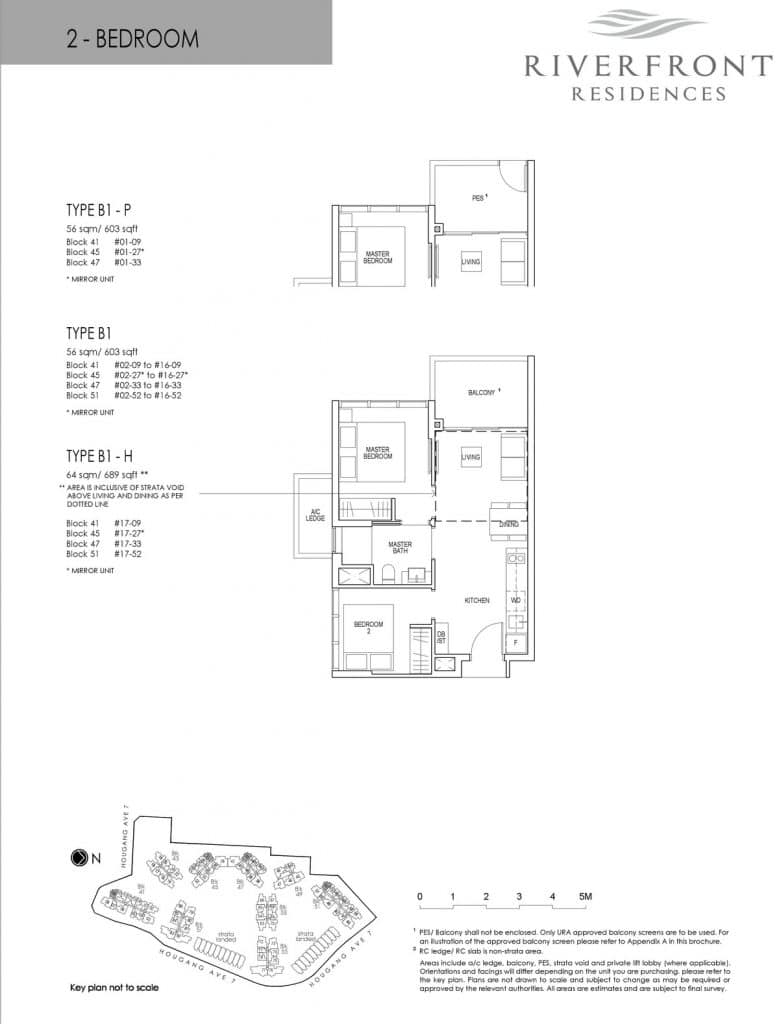 Riverfront Residences Condo Floor Plan 2 Bedroom B1