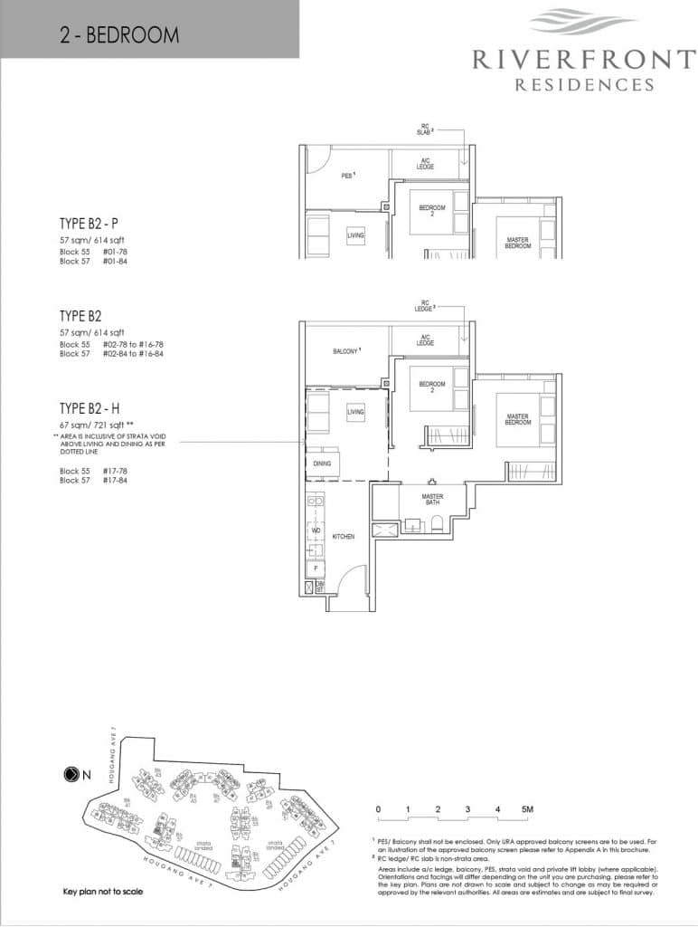 Riverfront Residences Condo Floor Plan 2 Bedroom B2