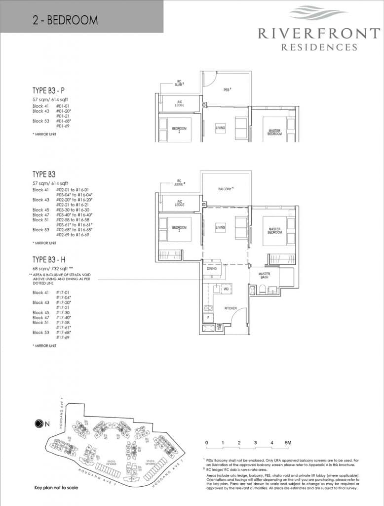 Riverfront Residences Condo Floor Plan 2 Bedroom B3