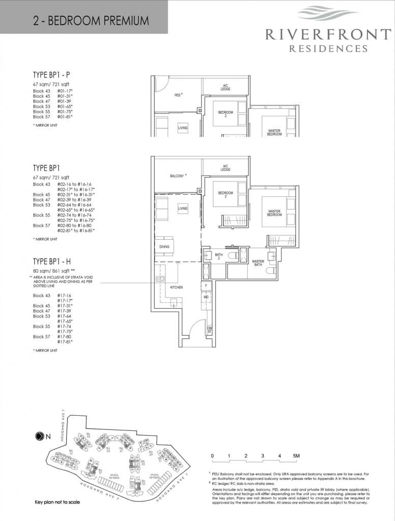 Riverfront Residences Condo Floor Plan 2 Bedroom Premium BP1