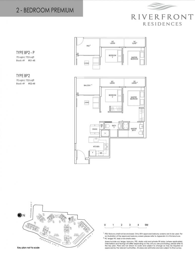 Riverfront Residences Condo Floor Plan 2 Bedroom Premium BP2