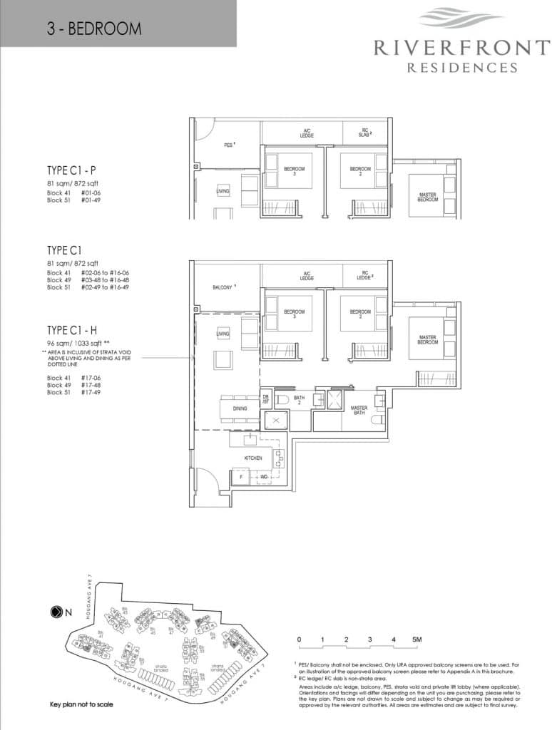 Riverfront Residences Condo Floor Plan 3 Bedroom C1