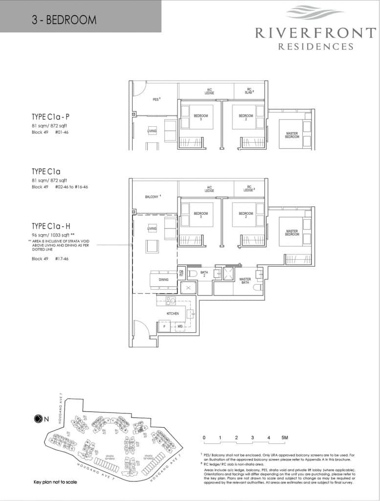 Riverfront Residences Condo Floor Plan 3 Bedroom C1a