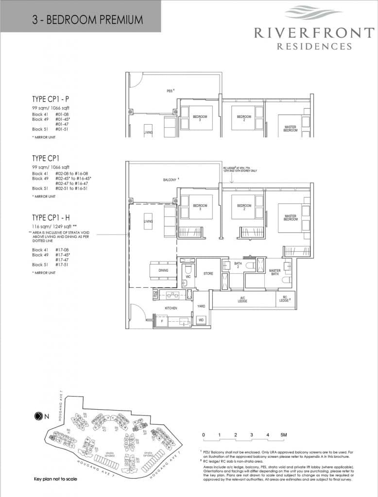 Riverfront Residences Condo Floor Plan 3 Bedroom Premium CP1