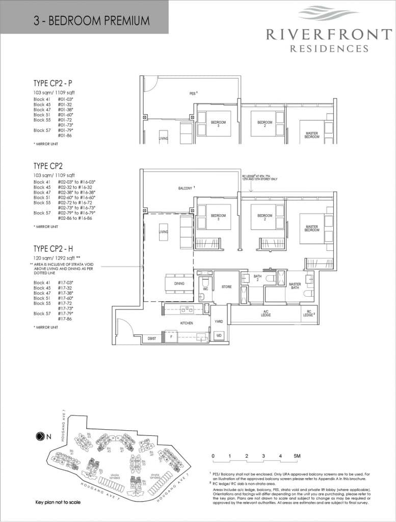 Riverfront Residences Condo Floor Plan 3 Bedroom Premium CP2