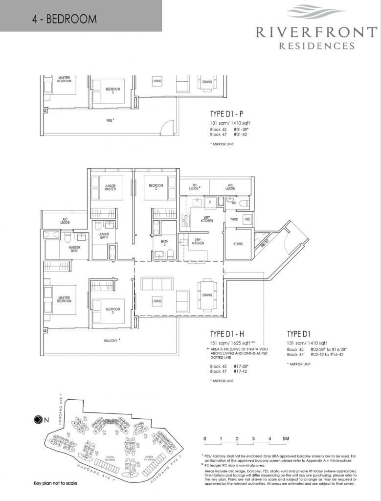 Riverfront Residences Condo Floor Plan 4 Bedroom D1