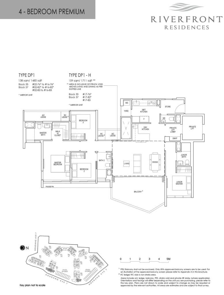 Riverfront Residences Condo Floor Plan 4 Bedroom Premium DP1