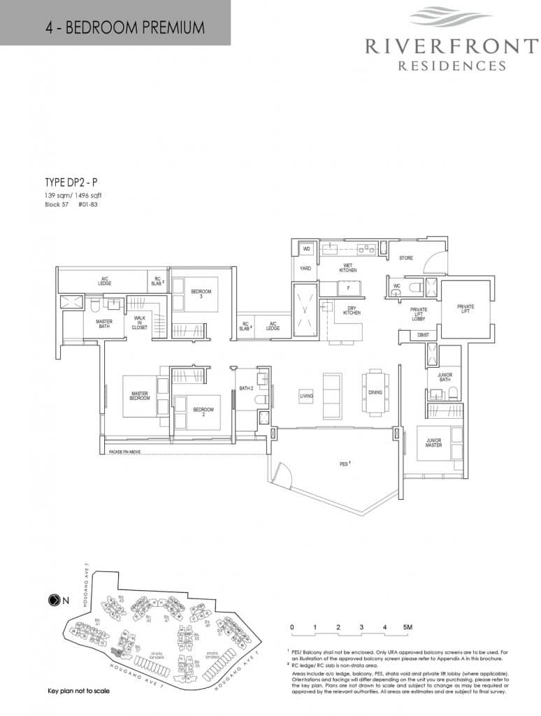 Riverfront Residences Condo Floor Plan 4 Bedroom Premium DP2-P