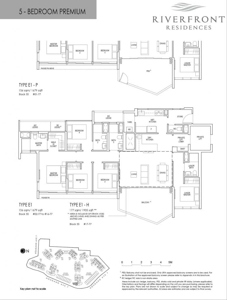 Riverfront Residences Condo Floor Plan 5 Bedroom Premium E1