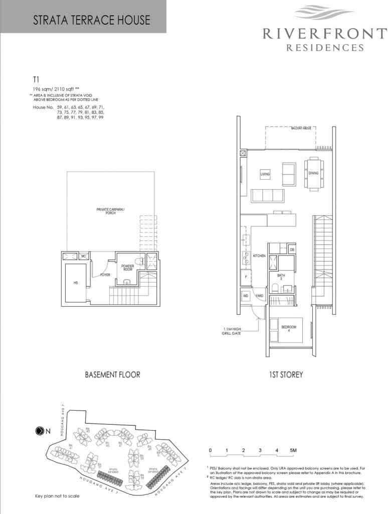 Riverfront Residences Condo Floor Plan Strata Terrace House T1 (1st Storey)
