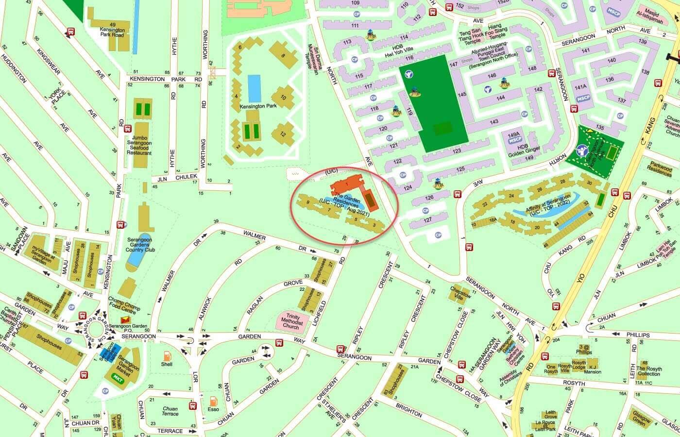 The Garden Residences Condo Street Directory Map