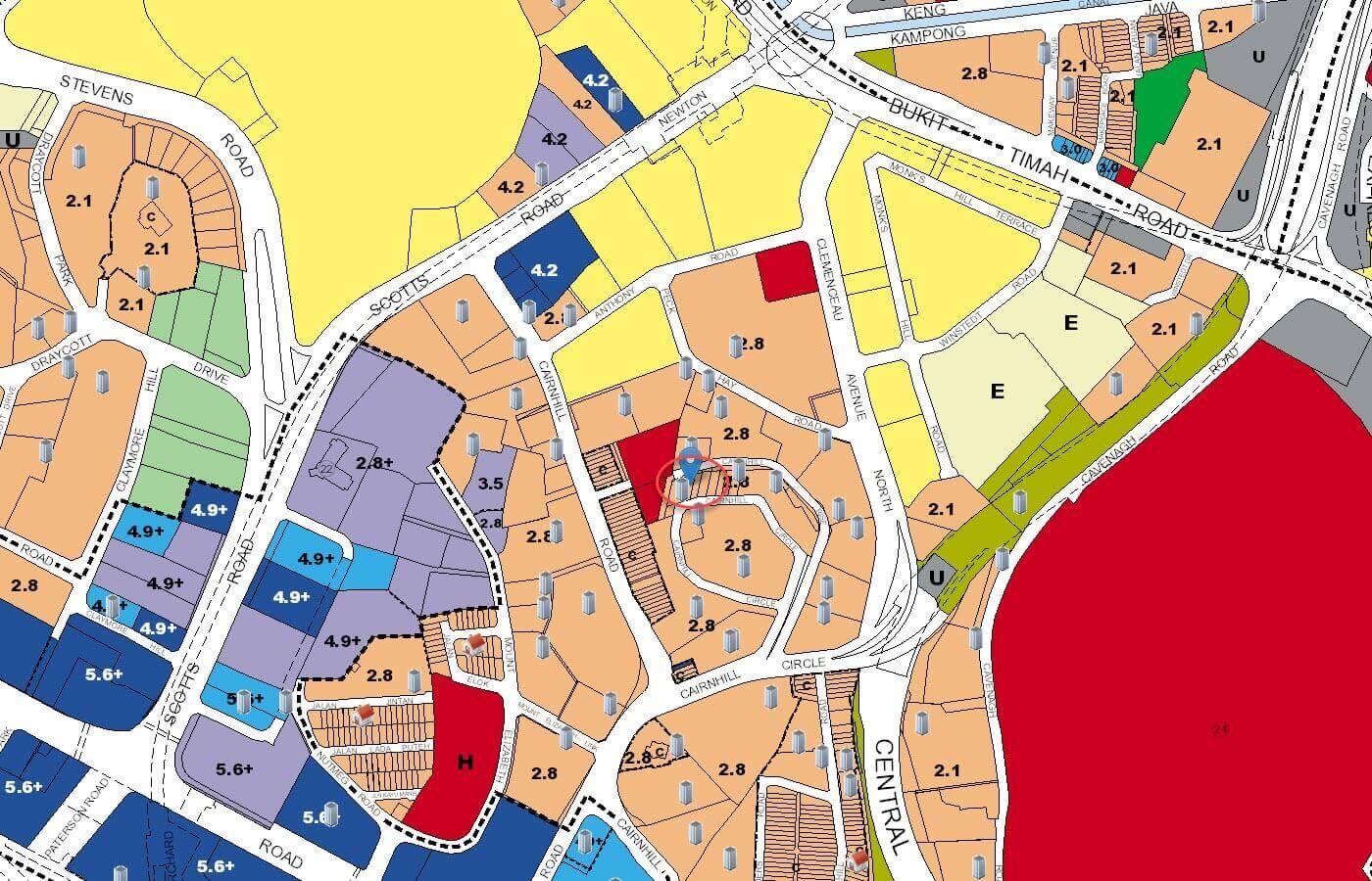 The Peak @ Cairnhill II Condo URA Master Plan Map