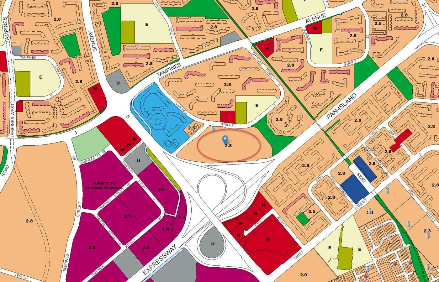 Treasure At Tampines Condo URA Master Plan Map