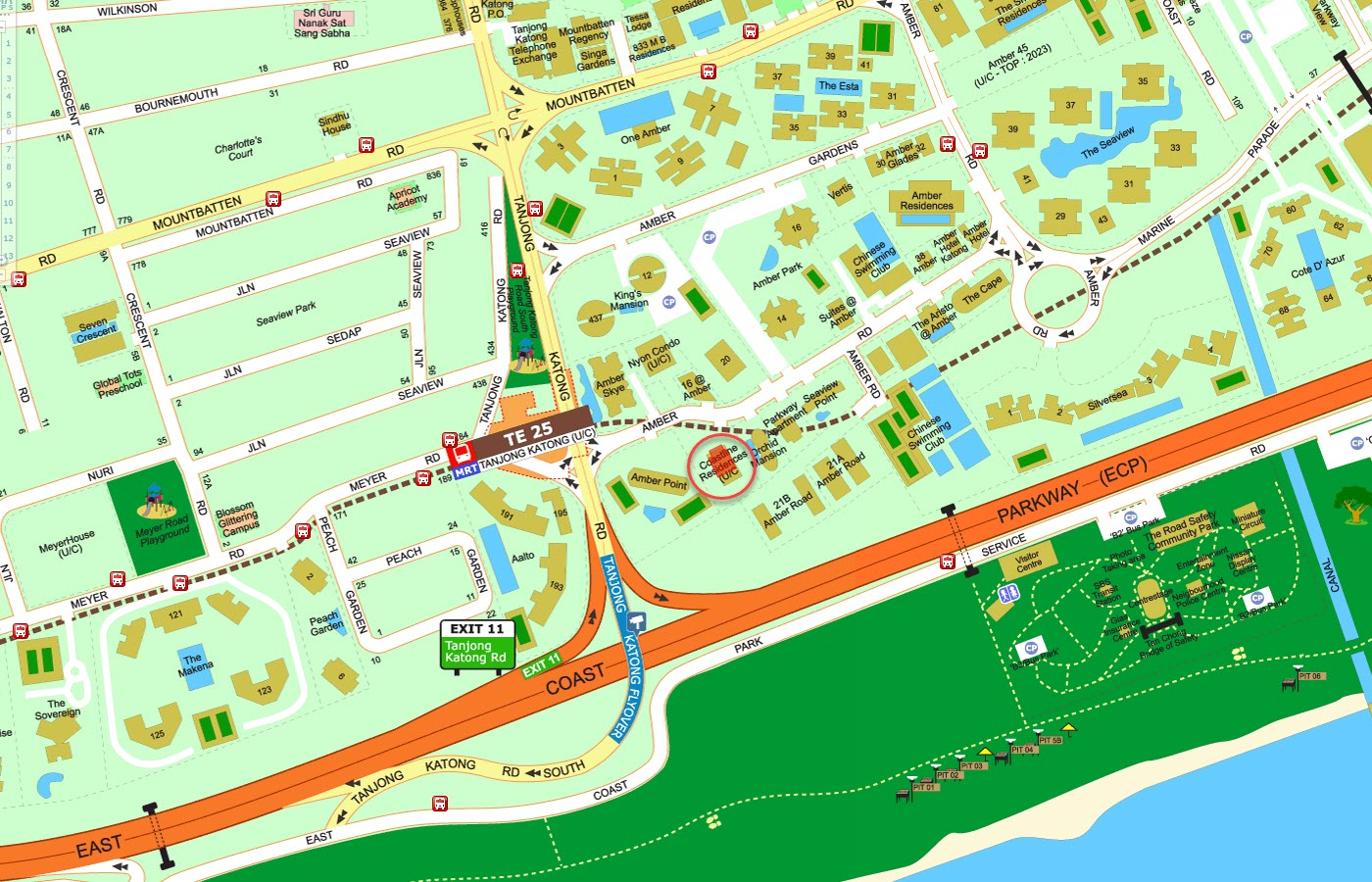 Coastline Residences Condo Street Directory Map