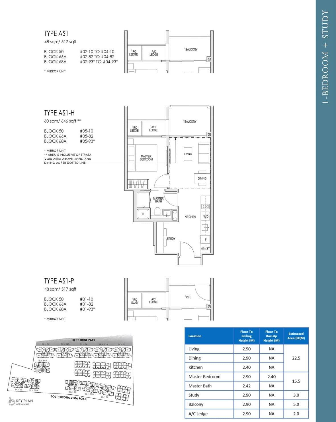 Kent Ridge Hill Residences Showflat Floor Plan 1 Bedroom Study