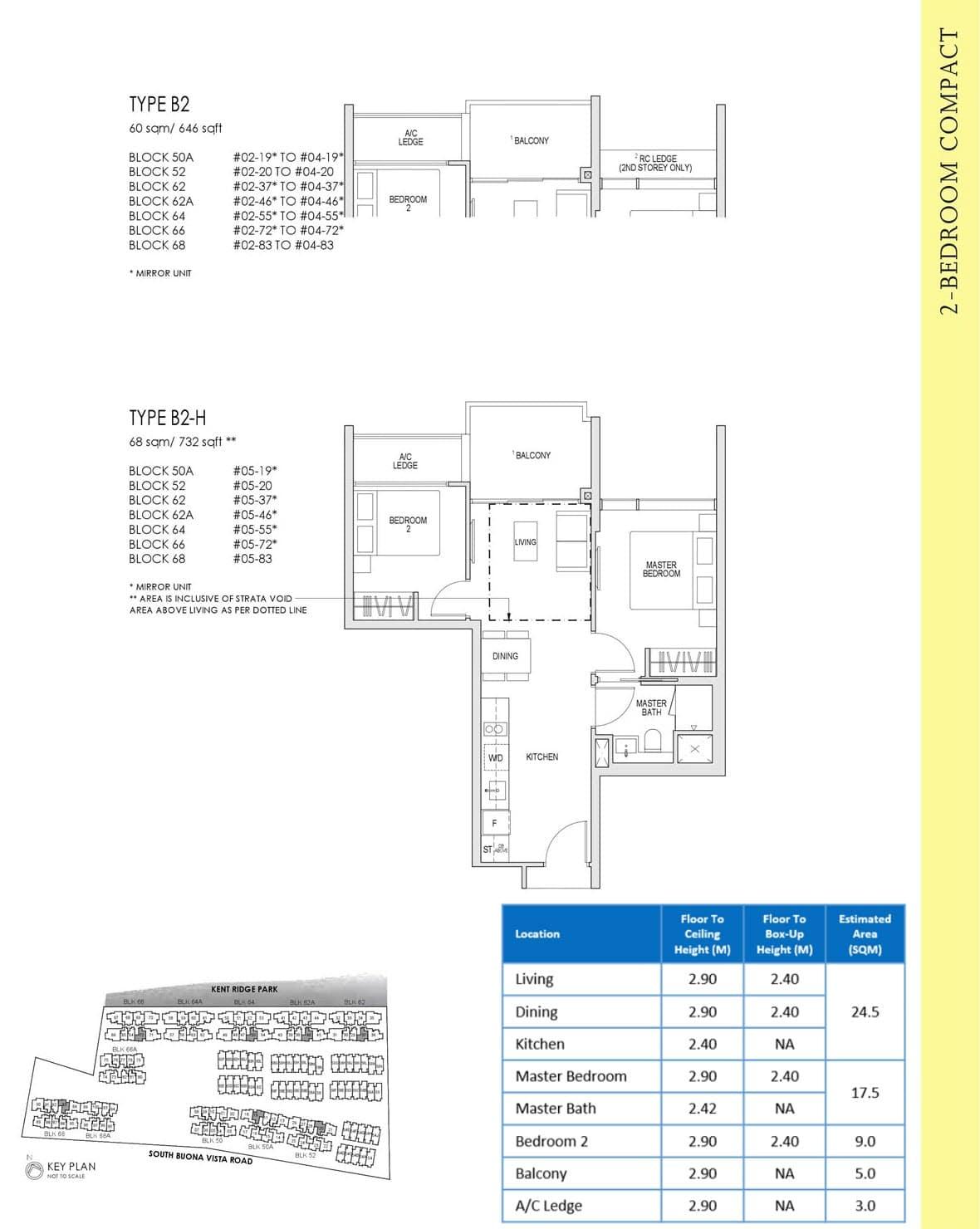 Kent Ridge Hill Residences Showflat Floor Plan 2 Bedroom Compact