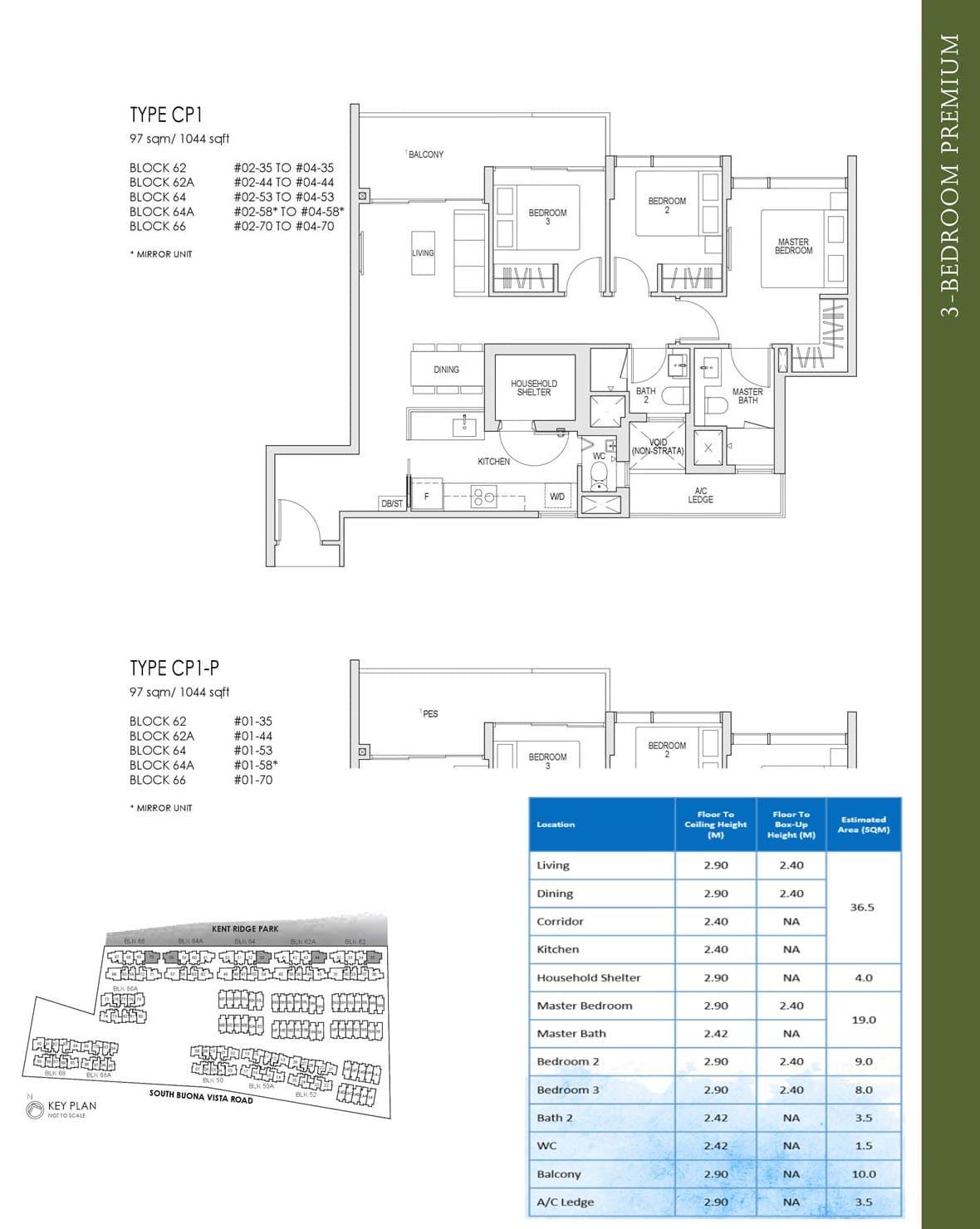 Kent Ridge Hill Residences Showflat Floor Plan 3 Bedroom Premium