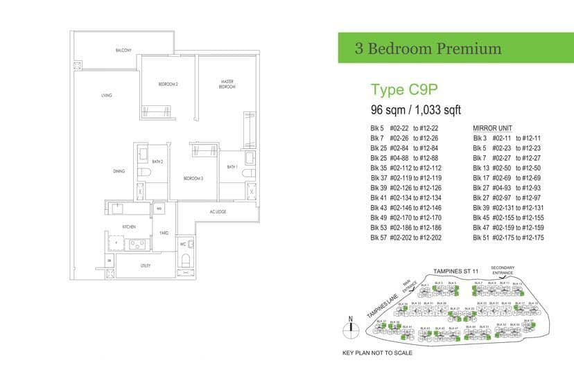 Treasure At Tampines Condo Floor Plan 3 BR Premium C9P
