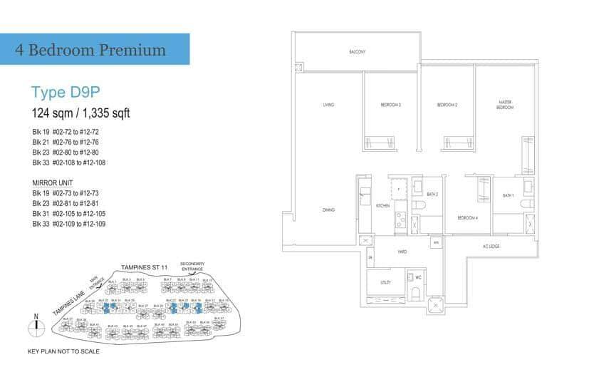 Treasure At Tampines Condo Floor Plan 4 BR Premium D9P