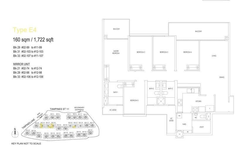 Treasure At Tampines Condo Floor Plan 5 BR E4