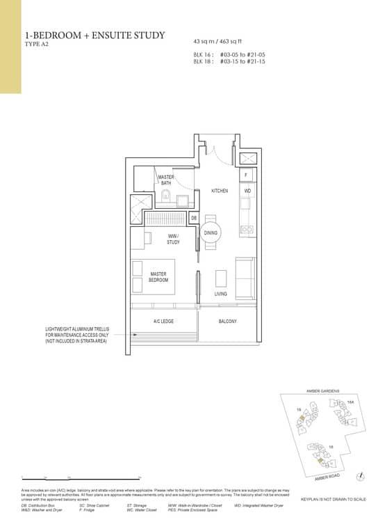 Amber Park Condo Floor Plan 1 Bedroom + Ensuite Study A2
