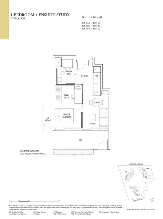 Amber Park Condo Floor Plan 1 Bedroom + Ensuite Study A3 (PES)