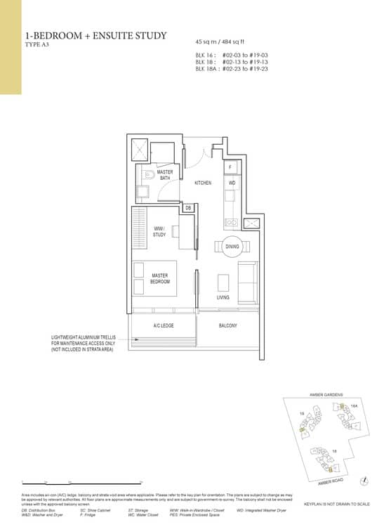 Amber Park Condo Floor Plan 1 Bedroom + Ensuite Study A3