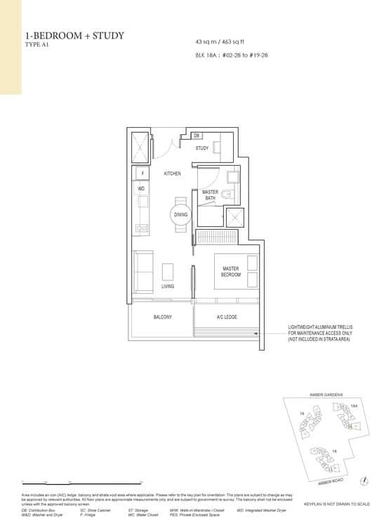 Amber Park Condo Floor Plan 1 Bedroom + Study A1