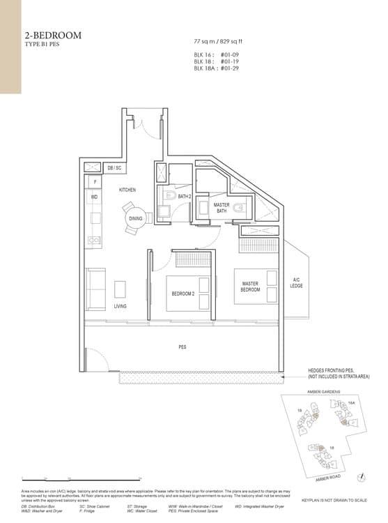 Amber Park Condo Floor Plan 2 Bedroom B1 (PES)