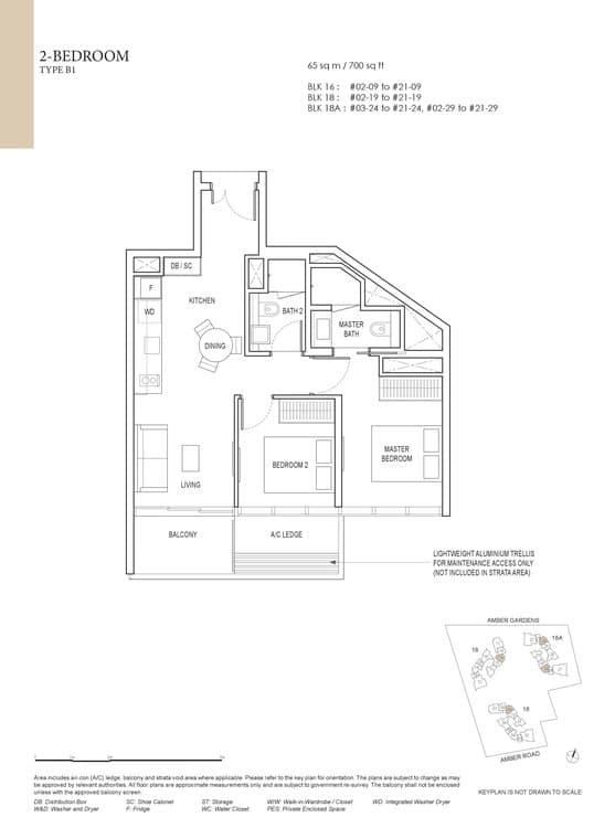 Amber Park Condo Floor Plan 2 Bedroom B1