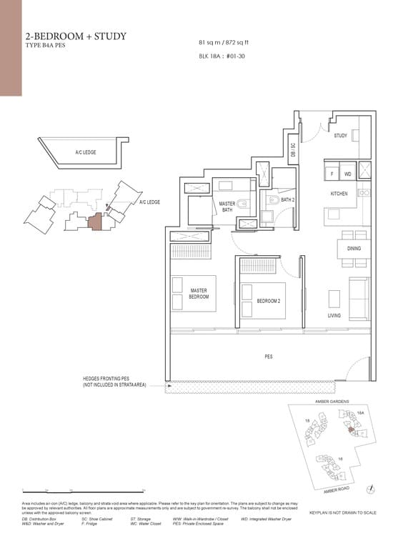 Amber Park Condo Floor Plan 2 Bedroom + Study B4A (PES)