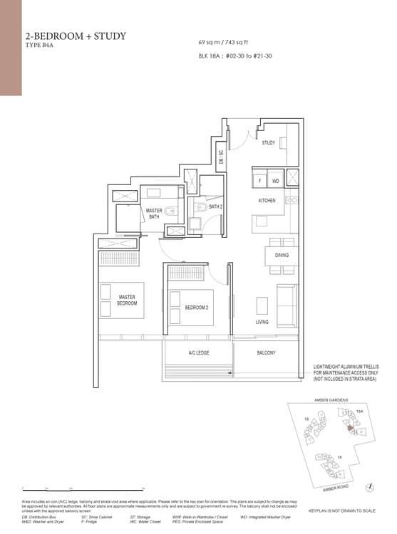 Amber Park Condo Floor Plan 2 Bedroom + Study B4A