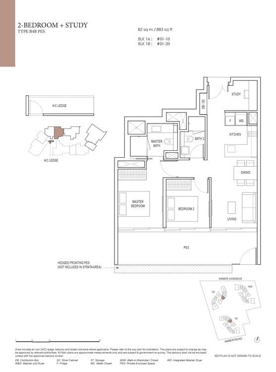 Amber Park Condo Floor Plan 2 Bedroom + Study B4B (PES)