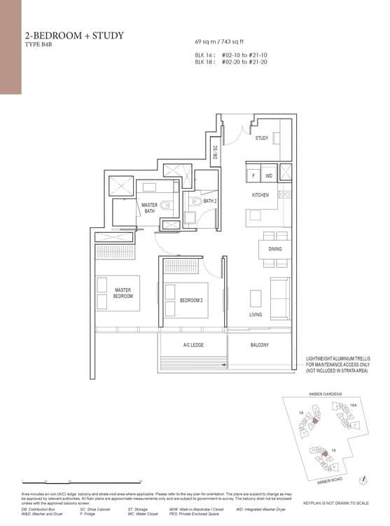 Amber Park Condo Floor Plan 2 Bedroom + Study B4B