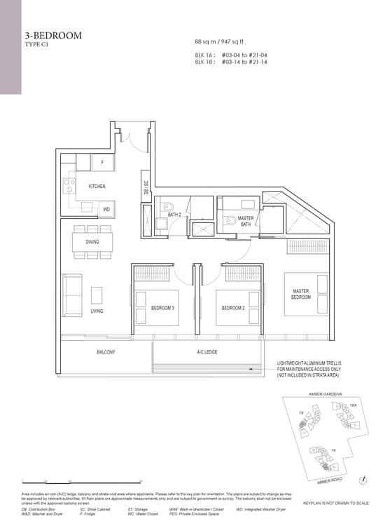 Amber Park Condo Floor Plan 3 Bedroom C1