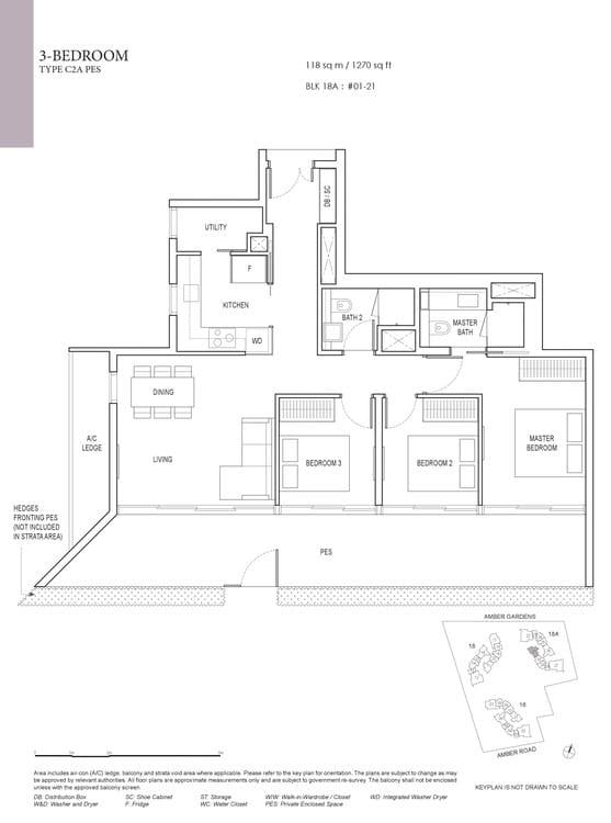 Amber Park Condo Floor Plan 3 Bedroom C2A (PES)