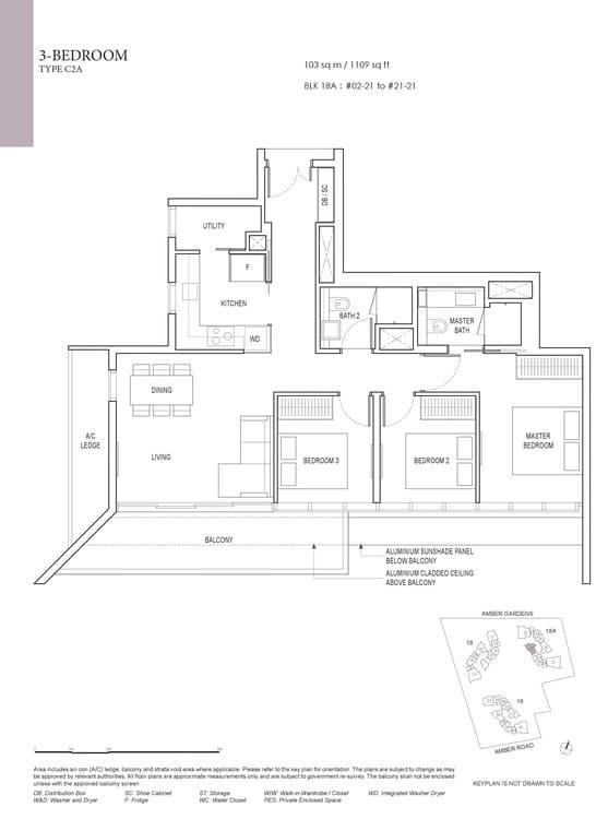 Amber Park Condo Floor Plan 3 Bedroom C2A