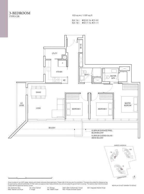 Amber Park Condo Floor Plan 3 Bedroom C2B