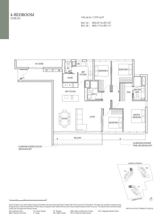 Amber Park Condo Floor Plan 4 Bedroom D1