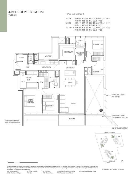Amber Park Condo Floor Plan 4 Bedroom Premium D2