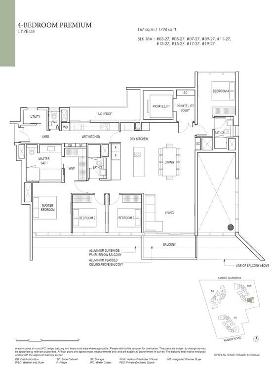 Amber Park Condo Floor Plan 4 Bedroom Premium D3