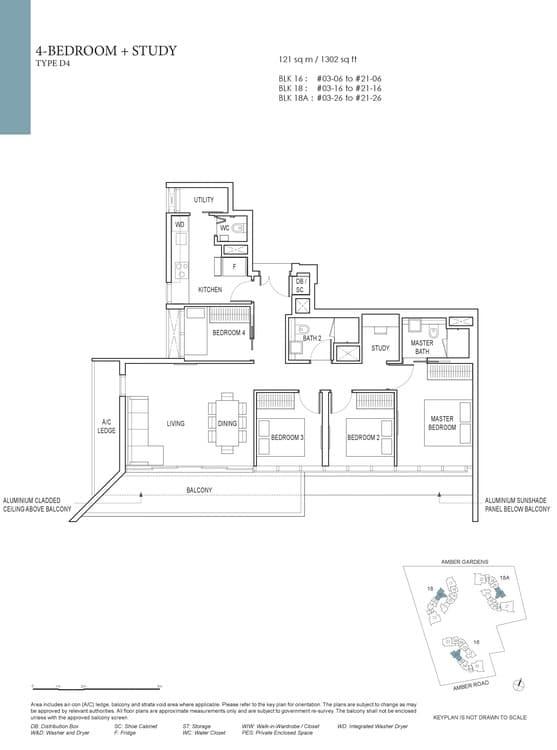 Amber Park Condo Floor Plan 4 Bedroom + Study D4