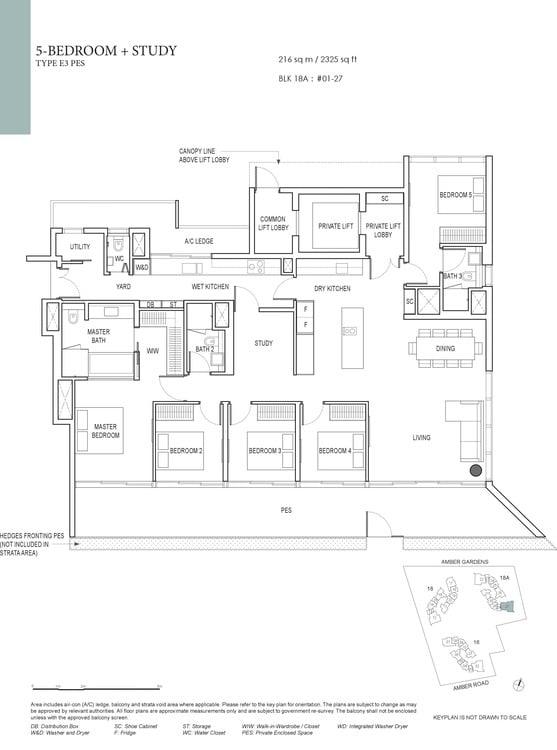 Amber Park Condo Floor Plan 5 Bedroom + Study E3 (PES)